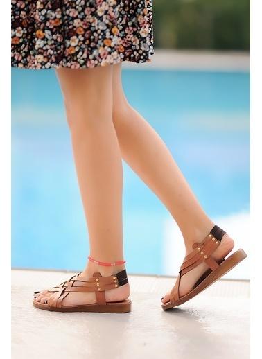 Pembe Potin A205-20 Kadın Sandalet A205-20 Taba